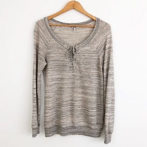 Splendid Lace Up Pullover Long Sleeve Sweater